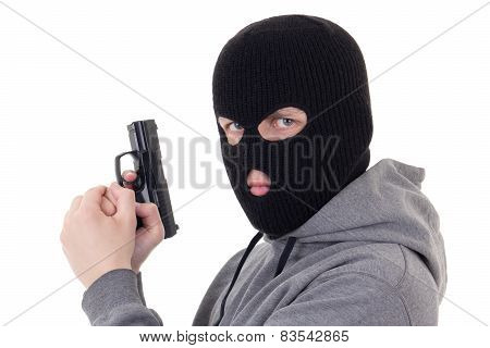 Portrait Of Man In Mask Aiming With Gun Isolated On White