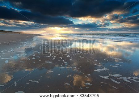 Beautiful Sunset On North Sea Beach