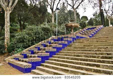 Stairs and fountain in Montjuic, Barcelona