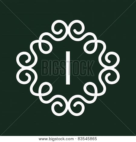 White Vector Vintage Twirl Frame for I Letter Monogram