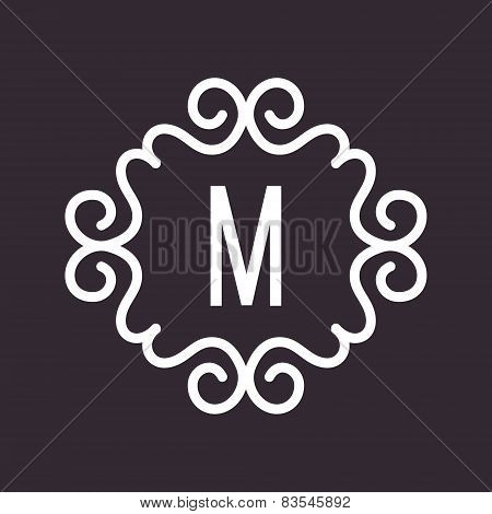 White Vector Vintage Twirl Frame for M Letter Monogram