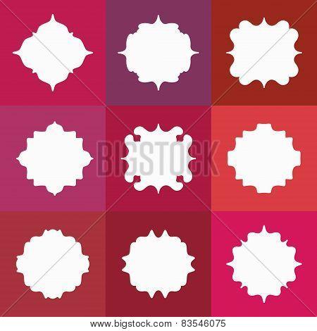 Set of Elegant Vector White Badges or Empty Frames on Colorful Background
