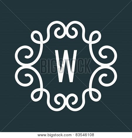 White Vector Vintage Twirl Frame for W Letter Monogram