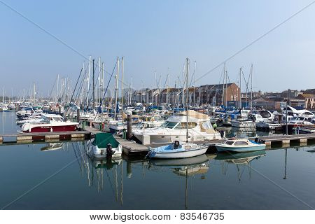Weymouth North Quay marina and harbour Dorset coast on beautiful summer day