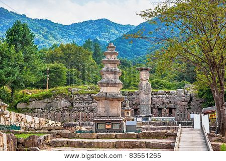 Big Buddha Statue With Stone Monument In Korea