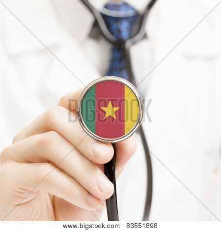 National Flag On Stethoscope Conceptual Series - Cameroon