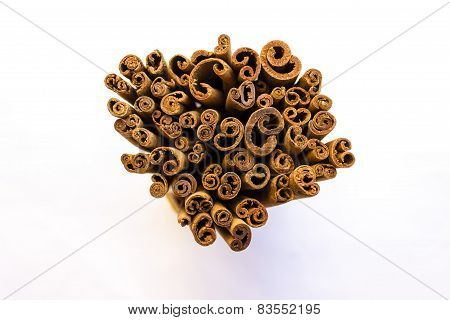 closeup view of cinnamon sticks used in culinary purposes as spices