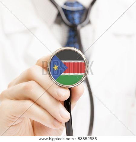 National Flag On Stethoscope Conceptual Series - South Sudan