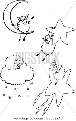 set of sheep in space vector illustration