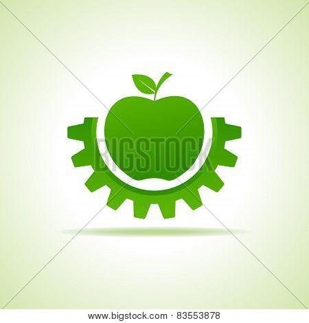 Green apple make gear shape, business technology symbol stock vector
