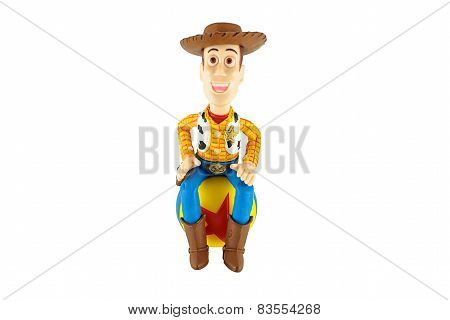 Sherrif Woody Toy On Red Star Ball A Fictional Character In The Toy Story animation.