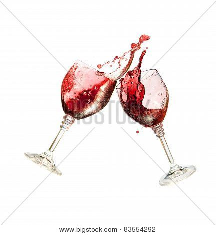 Two Wine Glasses Clinking Together In A Splashy Toast