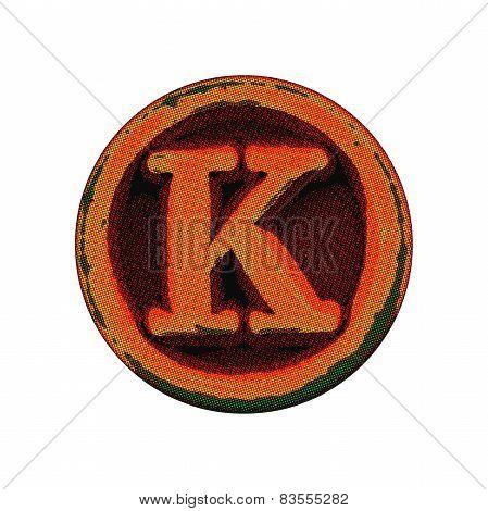 Grunge Font -  Letter K