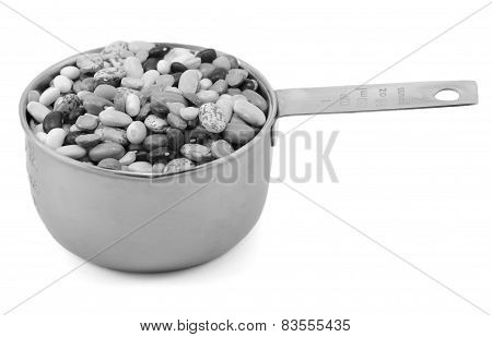Mixed Dried Beans In A Metal Cup Measure