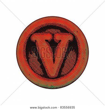 Grunge Font - Letter V