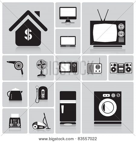 Electric Machine And House Icon Set