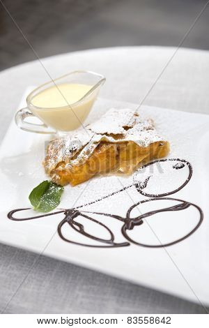 Apricot Strudel With Custard And Mint