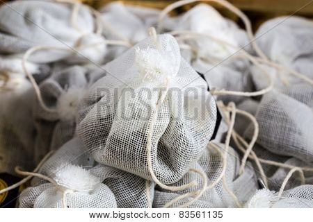 Tea Bag Made Of Fabric In A Box