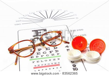 Eye Test Chart And Glasses And Containers For Contact Lenses