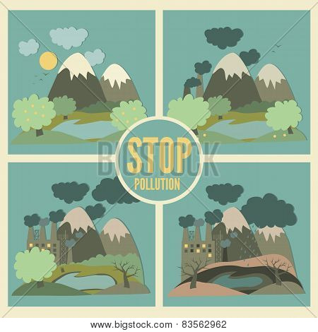 Ecology Concept Vector Icons Set for Environment