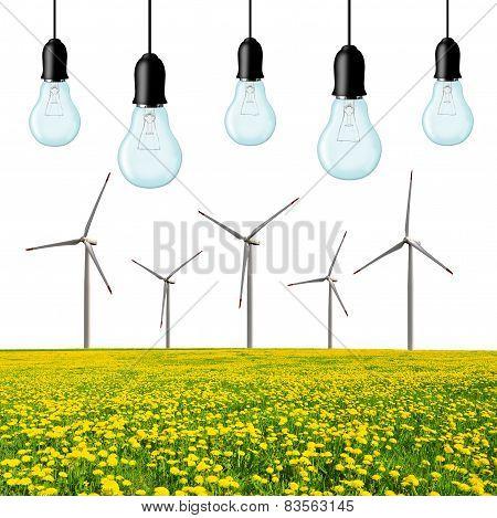 Wind turbines with light bulb