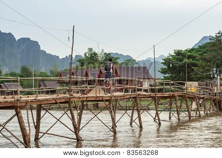 Wooden Bridge Over River Song To Riverside Guesthouse, Vang Vieng, Laos