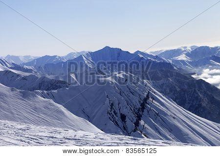 Ski Slope In Winter Morning