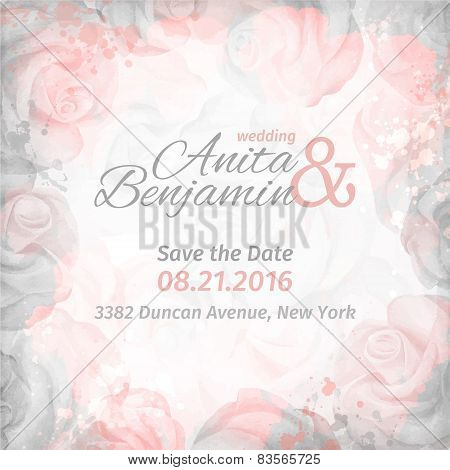 Invitation To The Wedding. Abstract Romantic Rose Background In Pink And Gray Colors. Vector Templat
