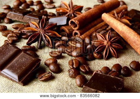 Aromatic Assortment Of Chocolate,coffee,anise And Cinnamon On Li