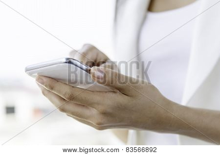 A woman using tablet