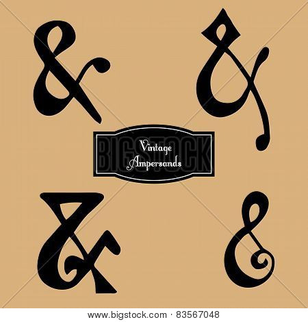 Vector set of vintage hand lettered ampersands.