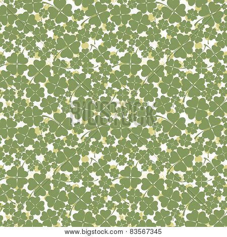 Seamless texture with clover of four leaves