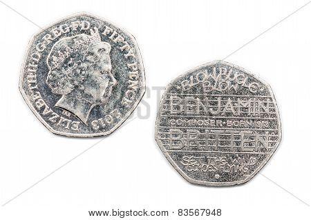 Benjamin Britten commemorative fifty pence