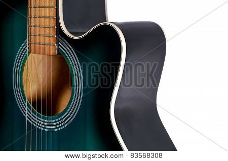 Part Of The Green And Black Acoustic Guitar, Isolated On A White