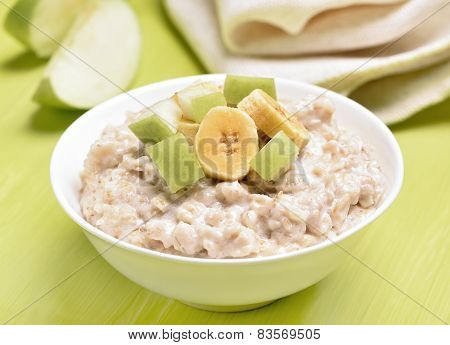 Oatmeal Porridge With Apple And Bananas Slices