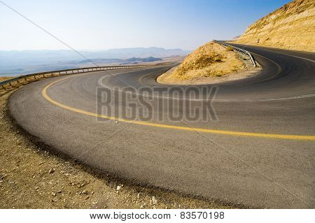 Hairpin Bend In Desert