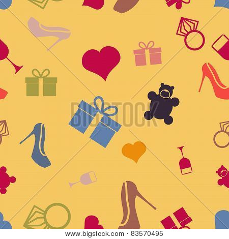 March 8 characters. Seamless pattern. Heart, ring, shoes, gift