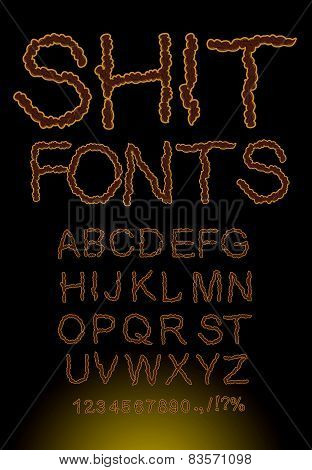 Shit font, letters of shit