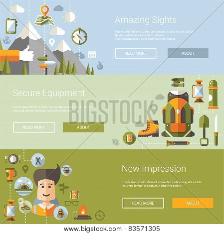 Modern flat design illustrations of camping and hiking info graphic elements
