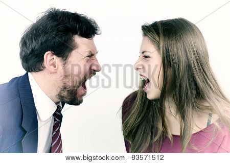 Father And Daughter Screaming At Each Other