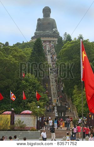 Stairs Leading To The Statue Of Big Buddha, Po Lin Buddhist Monastery, Hong Kong