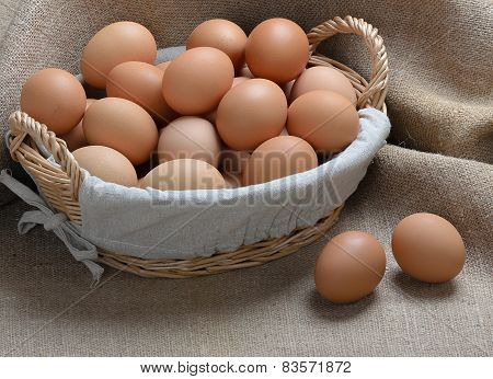 Chicken Eggs In A Basket On Sackcloth