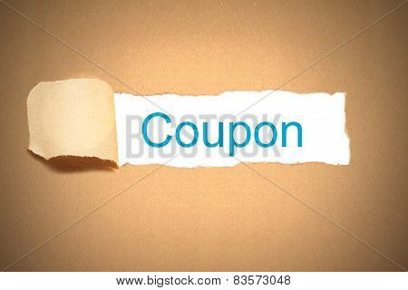 Brown Paper Torn To Reveal Coupon