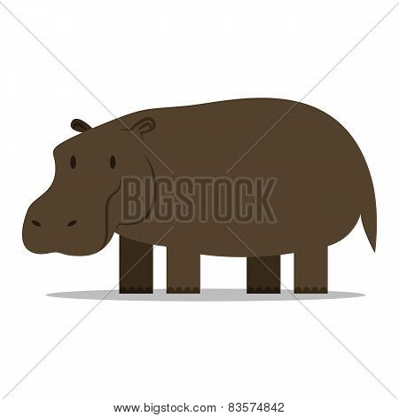 Vector Cartoon Hippo Isolated On Blank Background