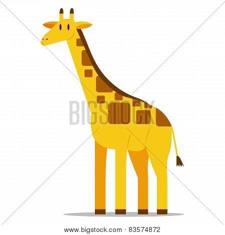 Vector Cartoon Giraffe Isolated On Blank Background