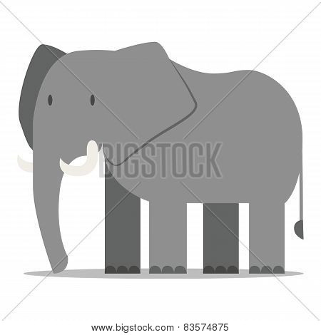 Vector Cartoon Elephant Isolated On Blank Backgrond