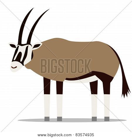 Vector Cartoon Oryx Isolated On Blank Background