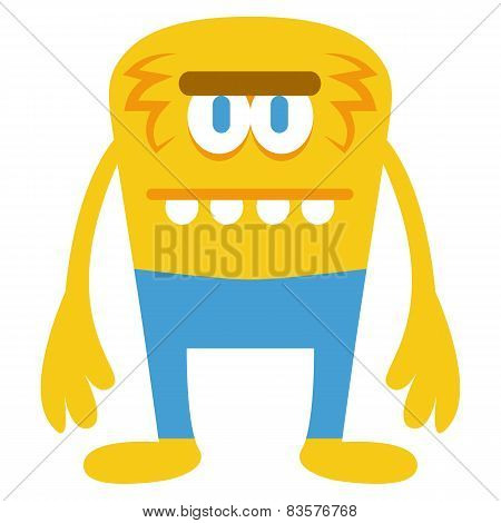 Vector Cartoon Funny Yellow Monster Character Isolated