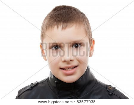 boy closeup portrait studio isolated white