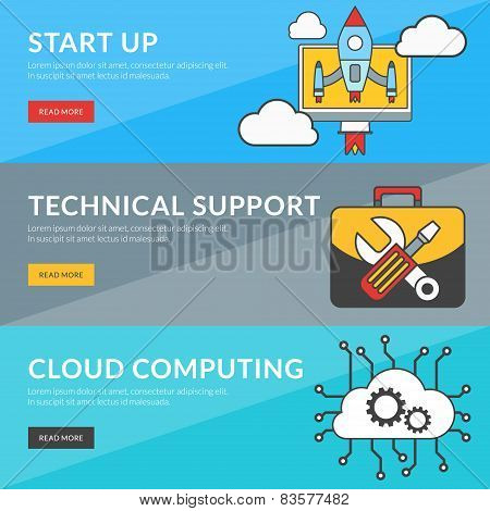 Flat Design Concept For Start Up, Technical Support, Cloud Computing